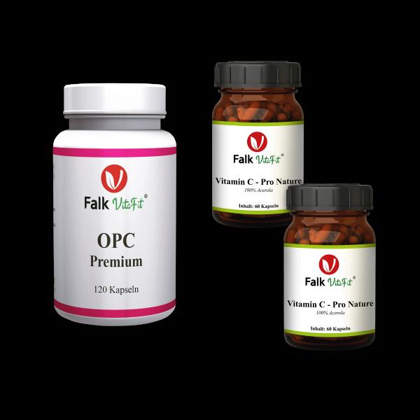 Sparpaket - 1 x OPC Premium Kapseln + 2 x Vitamin C - Pro Nature