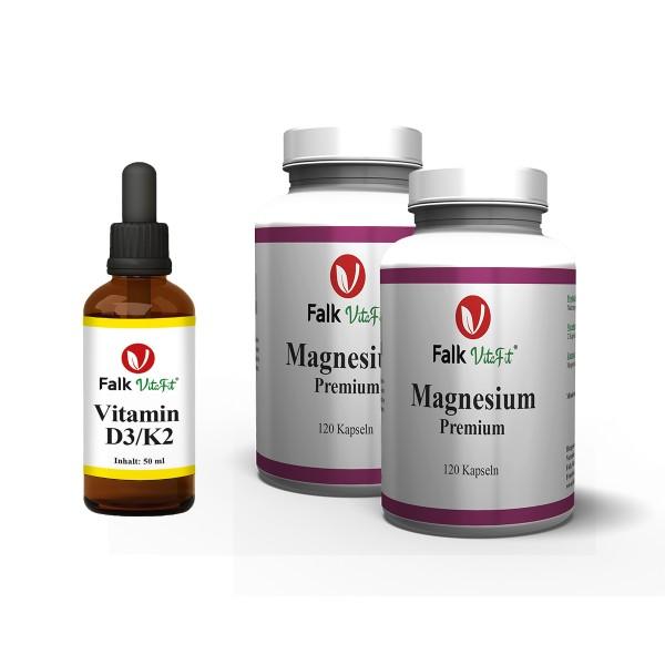 Sparpaket - 1 x D3/K2 + 2 x Magnesium Kapseln